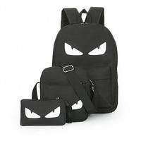 3Pcs Sets Womens Man Luminous Black Backpacks Canvas School Book Bags Computer Backpack Women Student Bag