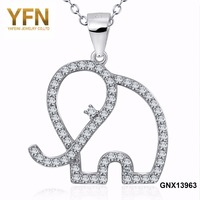 GNX13963 YFN 925 Sterling Silver CZ Crystal Lucky Elephant Pendants & Necklaces Animal Fashion Jewelry Wholesale Necklace