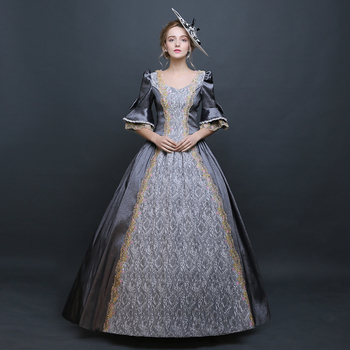 Women's Medieval Renaissance Rococo Dresses Gothic Fairy Princess Brocade Ball Gown Period Dress Reenactment Theater Clothing