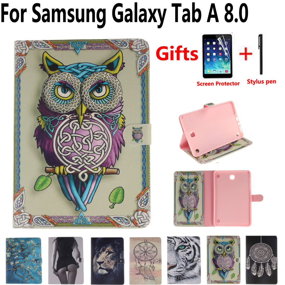 Tablet Protective Shell Cover Case for Samsung Galaxy Tab A 8.0 T350 T355 P350 Owl Flower Pu Leather Soft Tpu Smart Stand Case
