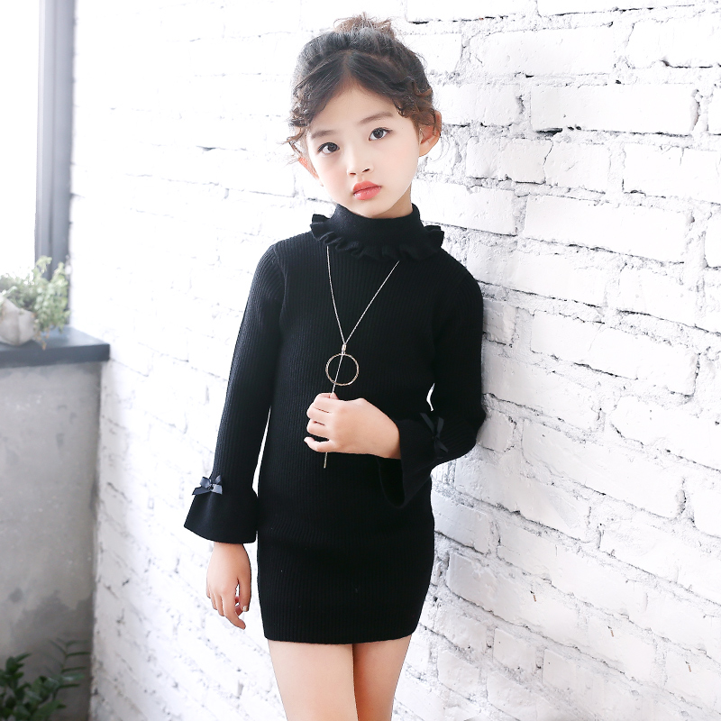 2018 Baby Girls Long Knitting Sweater Dress Autumn Winter Kid Turtleneck Fashion Flare Sleeve Bow Pullover Top Girls Sweater fashion 2018 women autumn winter sweater dresses slim turtleneck sexy bodycon solid color robe long knitted office ol dress 1089