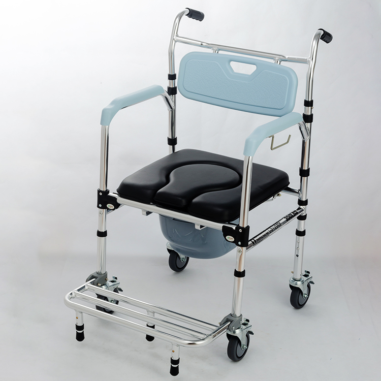Shower Mobile Commode Chair Shower Wheelchair Toilet Seat Toilet Chair With Footrests For Patient Old People Household Elederly