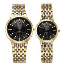 Новая пара Часы woonun лучший бренд роскошные золотые ультра тонкий Повседневные часы Для женщин Для мужчин любителей смотреть set подарок на день Святого Валентина