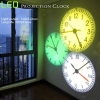Pattern Projection Wall Clock with 5 Pieces of Color Led Lamp Projection Clock New Creative Luminous LED Digital Clock Beautiful