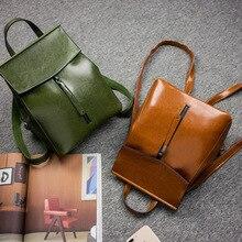 Новинка 2017 корейской моды рюкзак для девочек сумки масло воск кожаный мешок обратно универсальные кожа сумка Браун цвета: зеленый, черный Crossbody