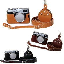 Real Leather-based Digital camera Case For Fujifilm X100 X100S X100T Half Bag Physique + Real Neck Strap + Mini case for Equipment