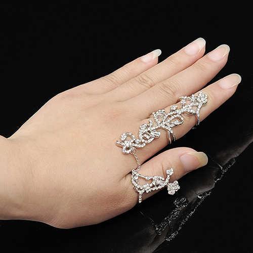 Conjunto de anillos de dedo de banda de apilamiento de diamantes de imitación de Rosa múltiple para mujer joyería de moda nuevo Chic