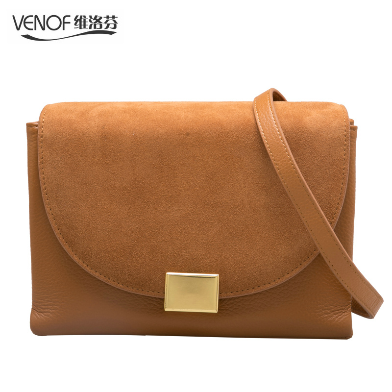 VENOF luxury retro genuine leather crossbody bags for women contrast color ladies messenger shoulder bags 2018 fall and winter venof luxury handbags women bags designer retro contrast color flap bag split leather ladies small shoulder crossbody bags 2018