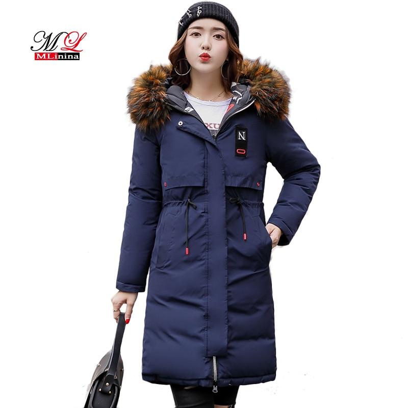 1b25811b0e Aliexpress.com   Buy MLinina Two Side Wear Winter Coat Women Jacket 2018  Big Fur Collar Hooded Long Parka Thicken Down Jackets For Girl Snow Wear  from ...