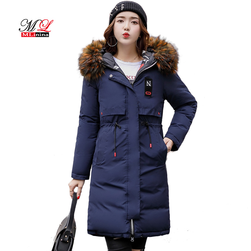 MLinina Two Side Wear Winter Coat Women Jacket 2018 Big Fur Collar Hooded Long Parka Thicken Down Jackets For Girl Snow Wear
