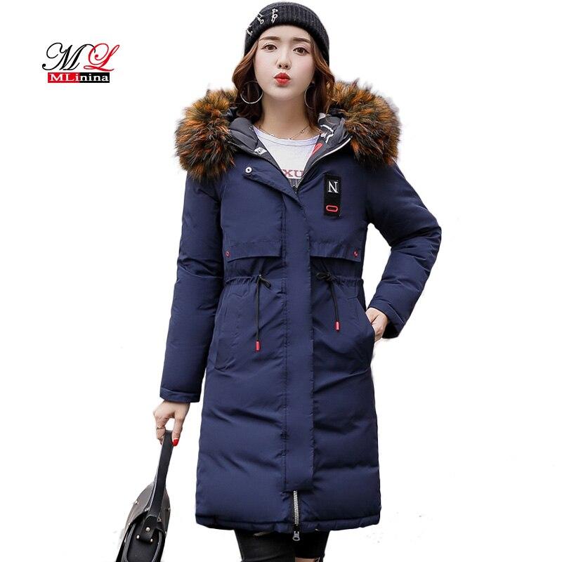 MLinina Two Side Wear Winter Coat Women Jacket 2019 Big Fur Collar Hooded Long Parka Thicken Down Jackets For Girl Snow Wear