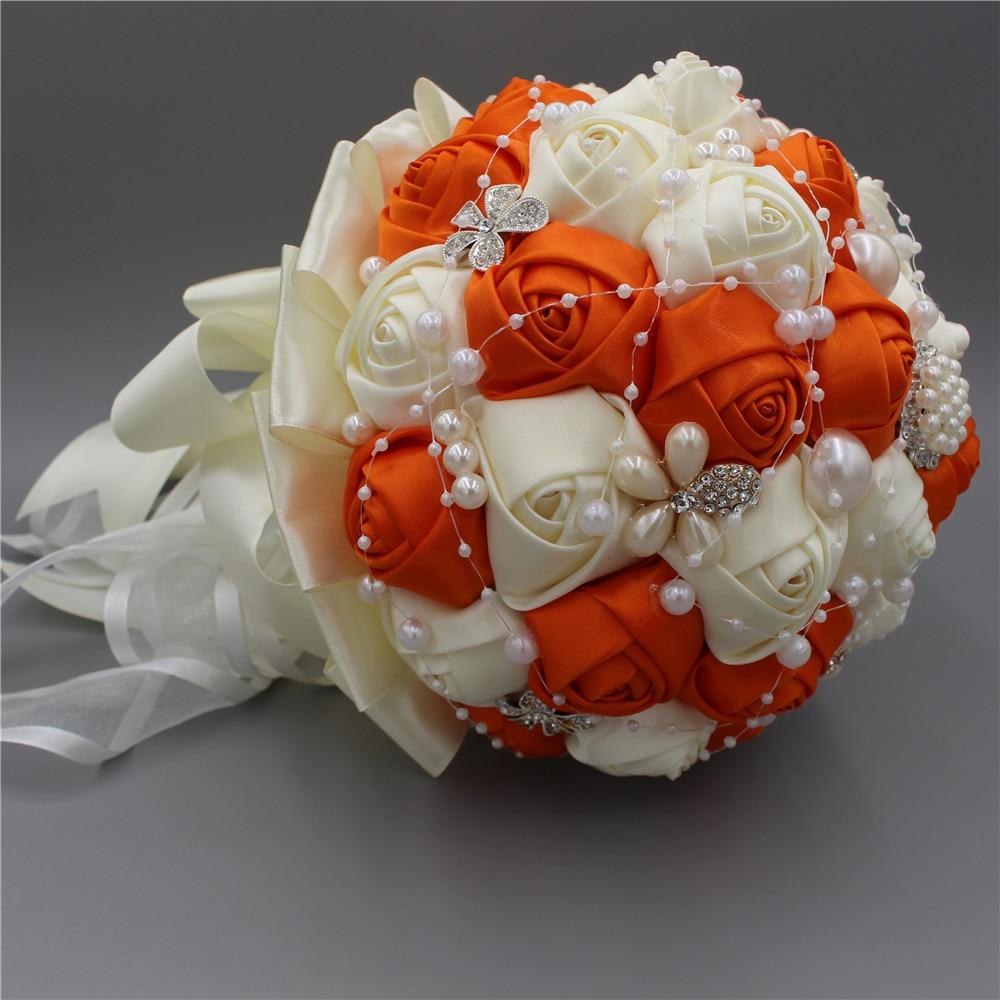 Orange Artificial Wedding Bouquet Oem Customized Wedding Flower