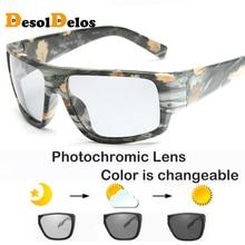 Photochromic Sunglasses Men Polarized Discoloration HD Goggles Male Anti Glare Driving Glasses Brand Design Eyewear DD