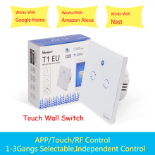 Sonoff T1 EU Smart Light touch Switch 1/2 Gang wall switch Touch/WiFi/RF433/APP Smart Home controller Work with Alexa/Google sonoff eu smart wifi wall touch light switch 1 2 gang touch wifi rf433 app remote smart home controller work with alexa google