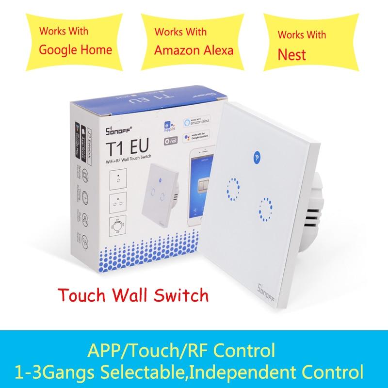 Sonoff T1 UE Inteligente interruptor de toque Interruptor de Luz 1/2 Gang interruptor de parede Contato/WiFi/RF433/APP Casa Inteligente o Trabalho do controlador com Alexa/Google