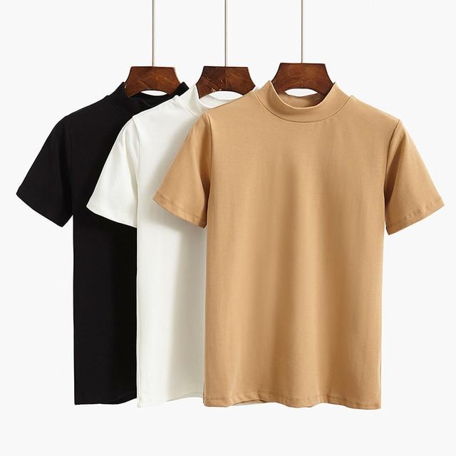 GIGOGOU 95% хлопок женская футболка Летняя Базовая футболка S-2XL плюс размер модные повседневные Короткие рукава топ с круглым вырезом Женская футболка