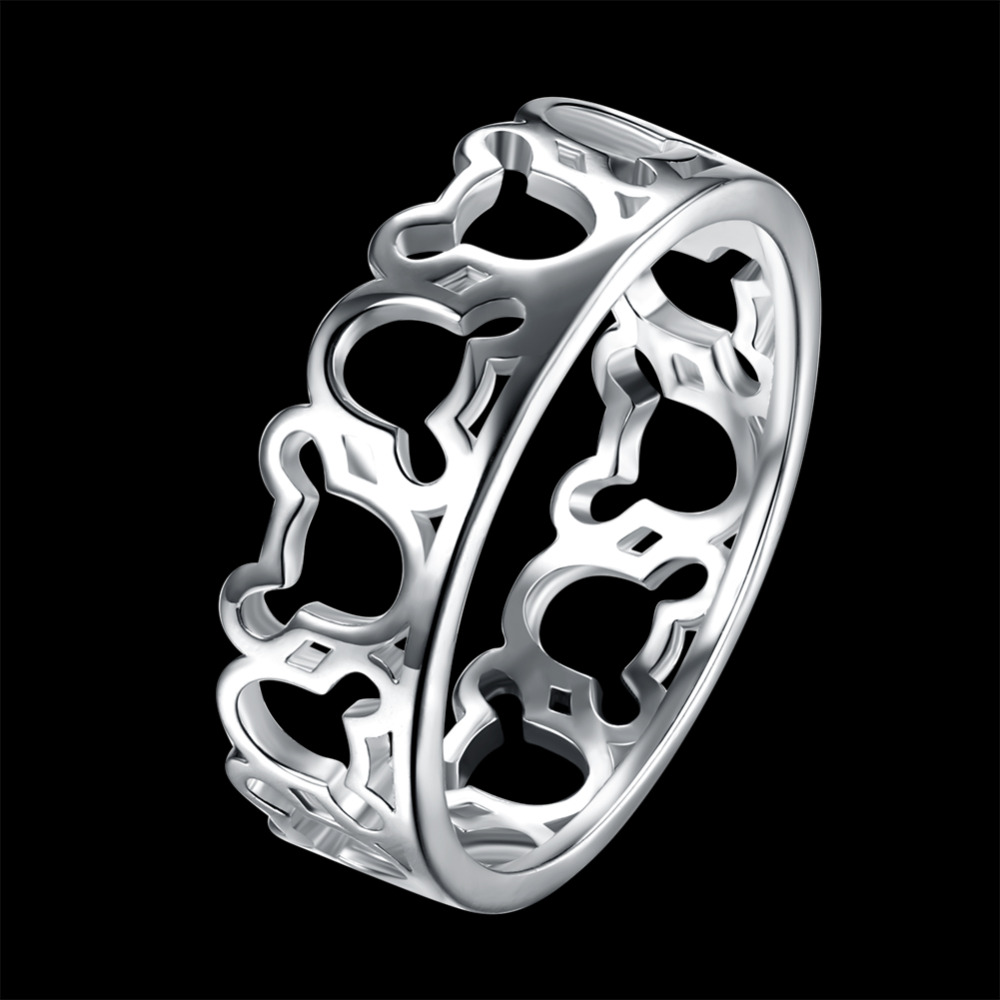 LJ&OMR  Fashion Silver Jewelry 925 Stamped Plated Rings Beautiful for women Girls Gifts