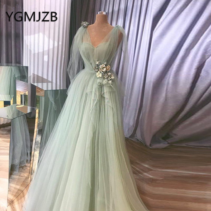 Abendkleider 2019 Elegant Long Prom Dresses A-line V-neck 3D Flowers Tulle Evening Gown Women Formal Ceremony Prom Party Dress