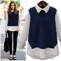 New Women Casual Basic Autumn Winter Stripe knitted T-shirt Top Shirt Tee Full sleeves blusas patchwork Plus Size
