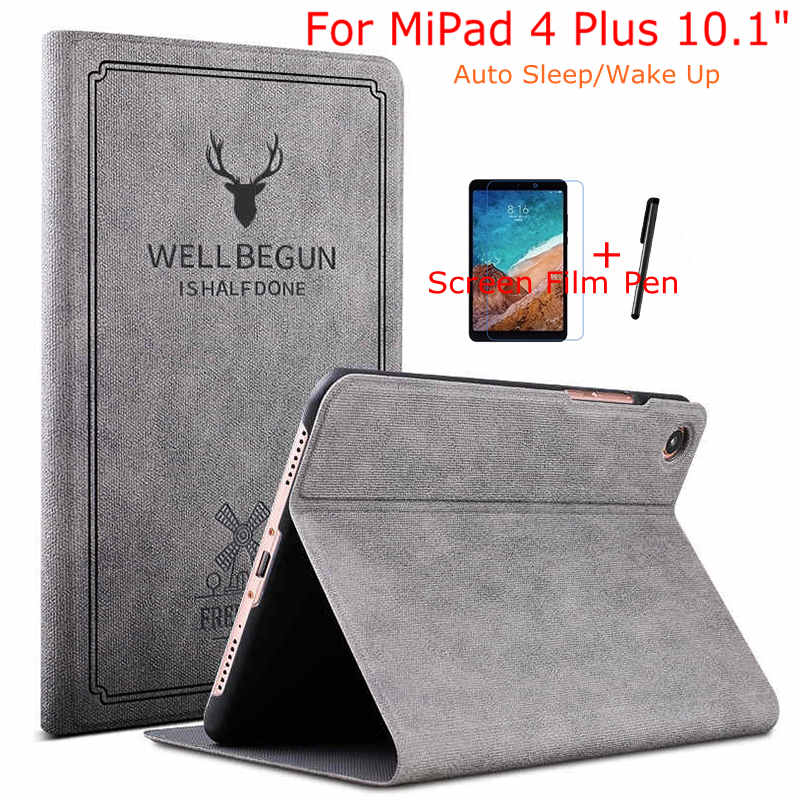 IBuyiWin Case For Xiaomi Mi Pad 4 10 Plus Magnetic Smart PU Leather Cover For Xiaomi MiPad 4 10.1 Inch Tablet+Free Film+Pen