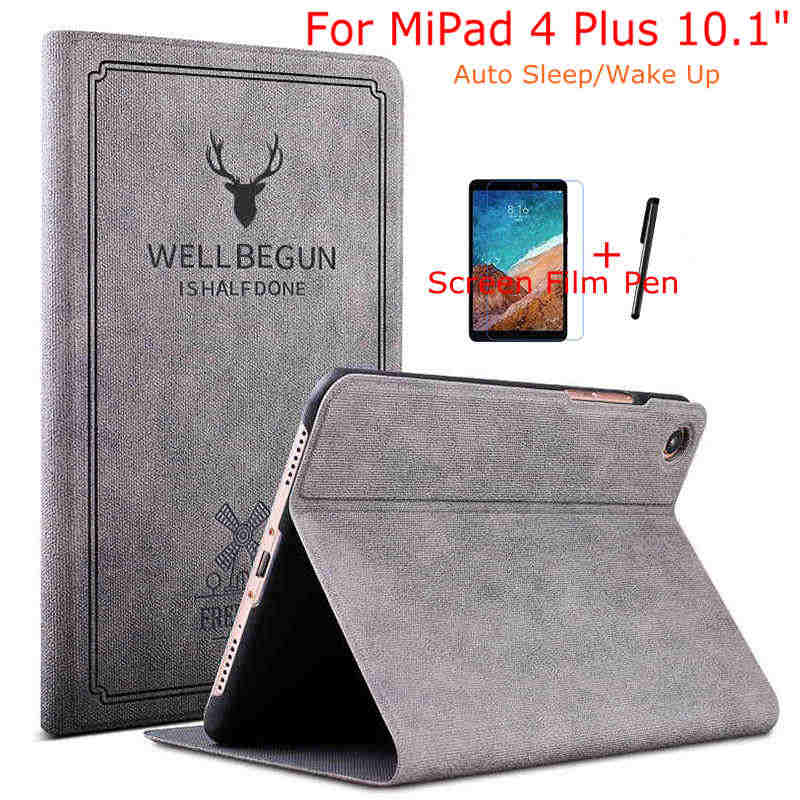 IBuyiWin Case Voor Xiao mi mi pad 4 10 plus magnetische Smart Pu Leather COVER Voor Xiao mi Mi pad 4 10.1 inch Tablet + Gratis Film + Pen