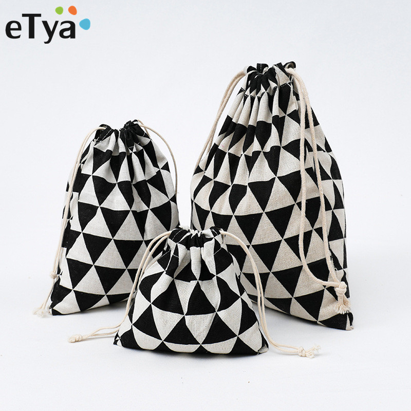 1PCS ETya Women Men Drawstring Bag Cotton  Travel Shoes Cosmetics Toiletry Bag Makeup Organizer Package Set Storage