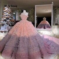 2019 новый стильный дизайн бальное платье с рюшами Пышное Платье с длинным шлейфом сексуальный без бретелей кружевной на спине Сладкий 16 плат