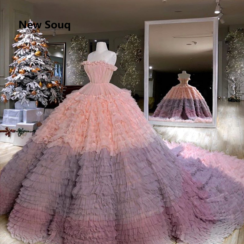 2019 New Design Stylish Ruched Ball Gown Quinceanera Dresses With Long Train Sexy Strapless Lace Up Back Sweet 16 Dresses
