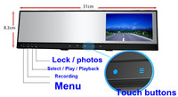 stock HD 4.3 touch button rear view mirror DVR AV in +bluetooth 3axis G sensor+jaws moveable 2CH av in camera DVD/VCR/CCD