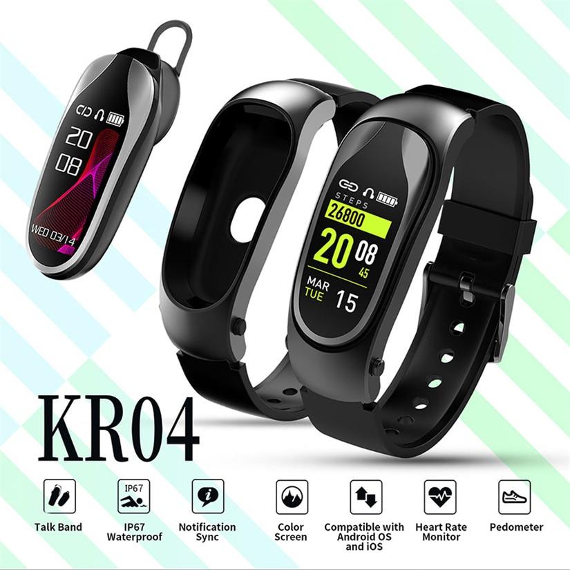 Bracelet Fitness KR04 bande intelligente Bluetooth casque réponse appel marche Bracelet intelligent écouteurs pour Xiaomi Huawei téléphone intelligent