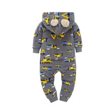 2017 new autumn fleece baby rompers coats for infant clothes hooded with ear lovely baby jumpsuits
