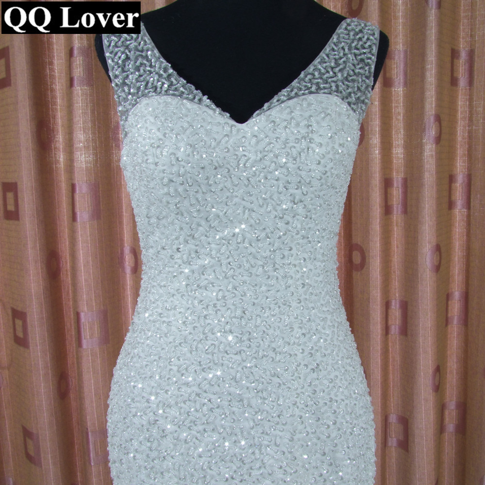aa7a158c533b ... Deep V Neck Beading Layer Mermaid Arabic Style Plus Size Wedding Dress
