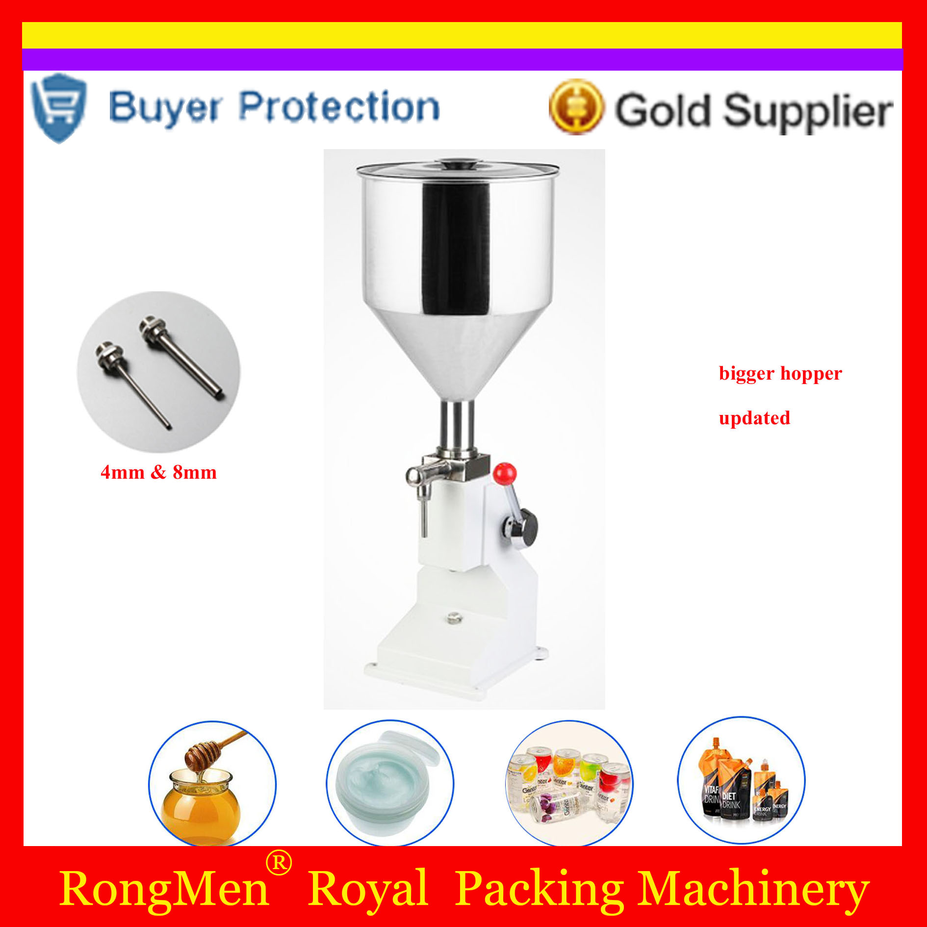 Shampoo Lotion Cream Hopper Filler Yoghourt Honey Juice Sauce Jam Gel Paste Water Filling Machine Pneumatic