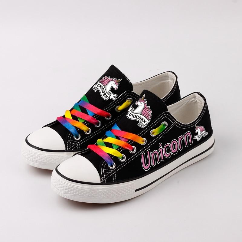 Tamponando Unicorn Su Misura Scarpe di Tela Coppie Casuali Piedi Scarpe Tenis Espadrillas Harajuku Stile Desinger Scarpe Zapatos