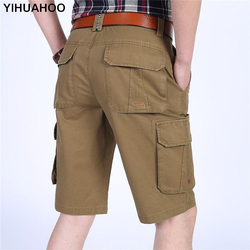YIHUAHOO Shorts Men 100% Cotton Casual Short Pants Multi Pockets Big Size Short Trousers Solid Bermuda Cargo Shorts Man LW-8M13