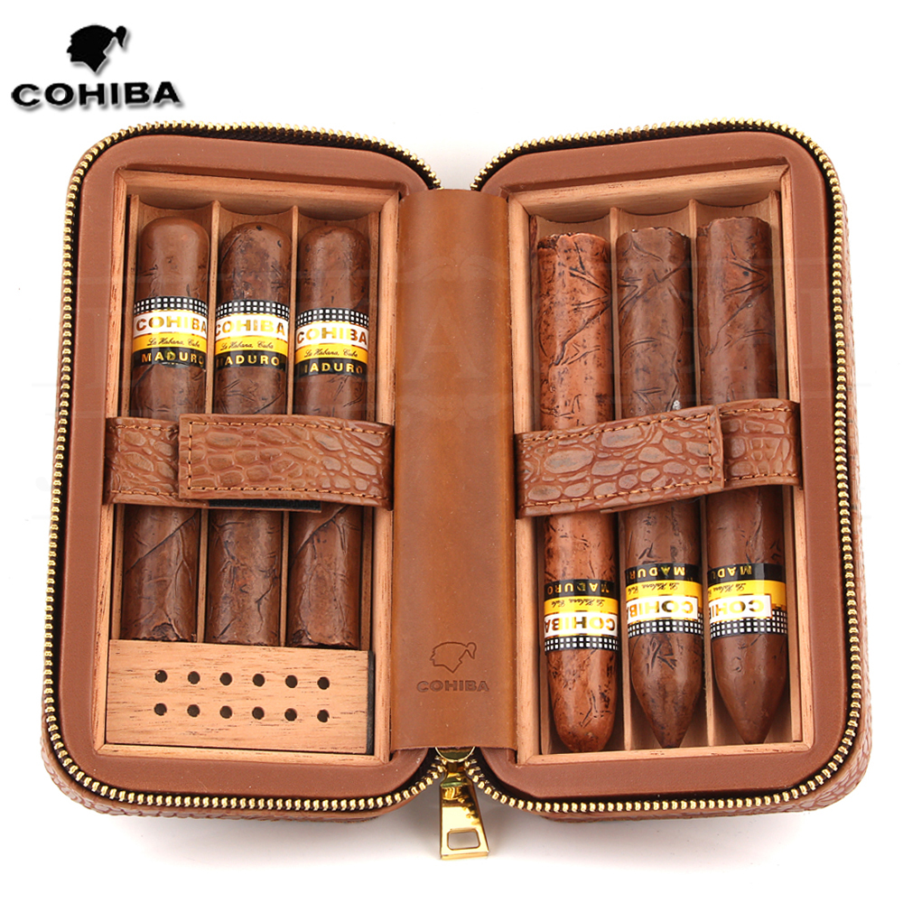 COHIBA Cedar Wood Cigar Humidor Travel Leather Cigar Case W/ Humidifier Portable Charuto Humidor Box Fit 6 Cuba Puros