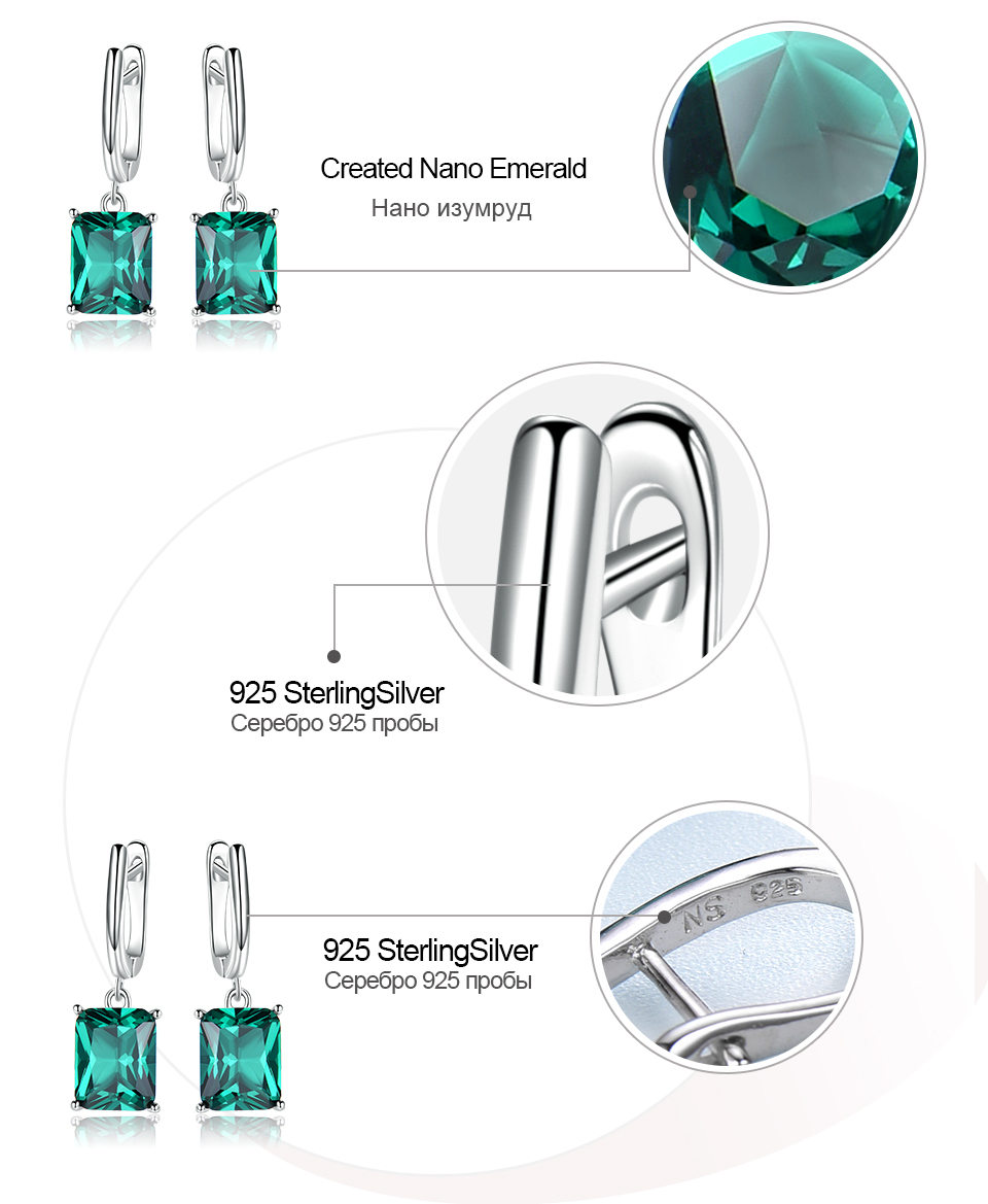 Honyy ??Emerald 925 sterling silver earring for women EUJ094E-1-pc (7)