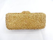 8271-GOLD Crystal Flower Floral Lady fashion Bridal Party hollow Metal Evening purse clutch bag handbag