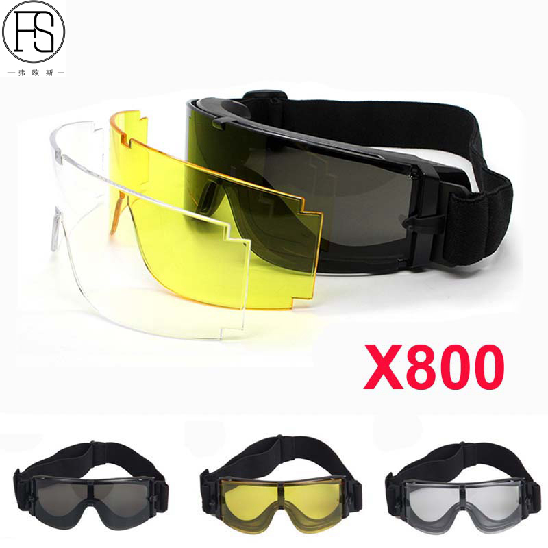 Sport Sunglasses Tactical Glasses X800 Army Military Airsoft Goggles Paintball Hunting Combat Glasses Motorcycle Eyewear 3 Lens