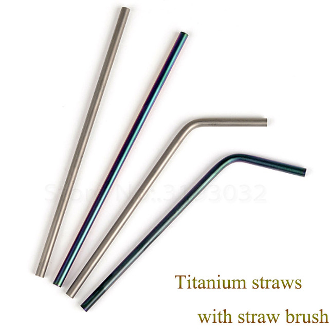 Outdoor Tableware Drinkware EDC Titanium Drinking Coffee Straws Kitchen Tea Stir Bar Camp Equipment Travel Kit Picnic Accessory
