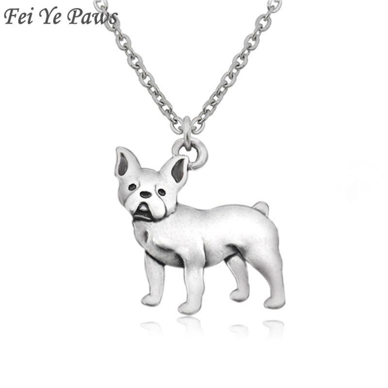 Color plata vintage Boho Bulldog francés y Boston Terrier perro colgante gargantilla collar cadena larga hombres para mujeres hombres joyería regalo