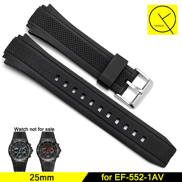 dbe38a35e6ee Silicone Bracelets Durable Stainless Pin Buckle Straps for Casio Edifice  Series EF-552 Man Rubber Watchbands Black 25mm+ Tool
