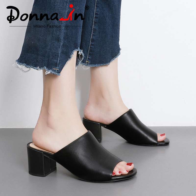 Donna-in Mules High Heels Peep Toes Genuine Leather Sandals Women Summer Flip Flops Shoes 2019 Slides Women Slippers Outdoor