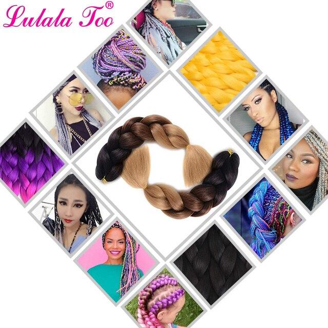 24inch Long Synthetic Jumbo Braids Ombre Braiding Hair Crochet Braid 100g/Pack Black Pink Blue Grey Hair Extensions 1