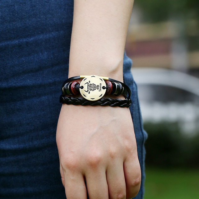 Stylish Zodiac Sing Matched with Genuine Leather Braided Bangle and Vintage Beaded Bracelet