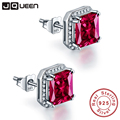 JQUEEN Ruby red earrings Princess Cut 925 sterling silver earrings 3Ct bijoux wedding earrings vintage stud earrings