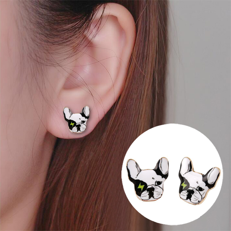 2016 New Arrival Cute Animal Oil Earrings Lovely Vintage Hippie Chic Vintage French Bulldog Stud Earrings for Girls Party Gift