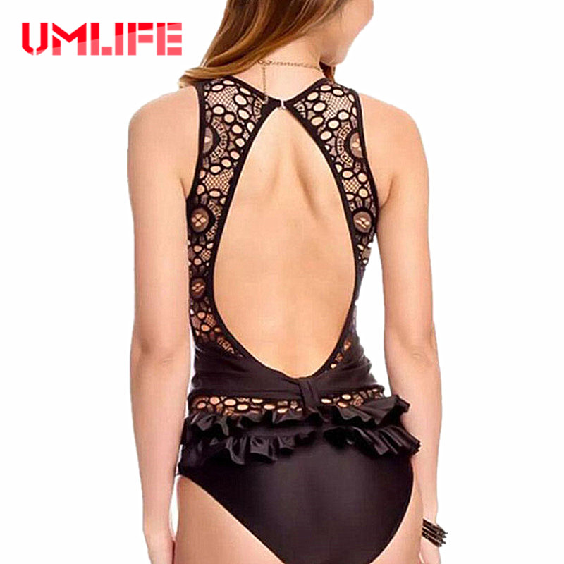 Lace One Piece Swimsuit Women Ruffle Swimwear Monokini Sexy Backless Bodysuit Solid Black White Bathing Suit Thong Swim Suit black blue one piece swimsuit monokini backless sexy leotard women plus size bathing suit top quality transparent mesh swimwear