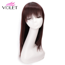 VIOLET Peruvian Straight Hair Wig with Bangs Long Human Bob Two Colors 20-22 Non-Remy Wigs for Black Women