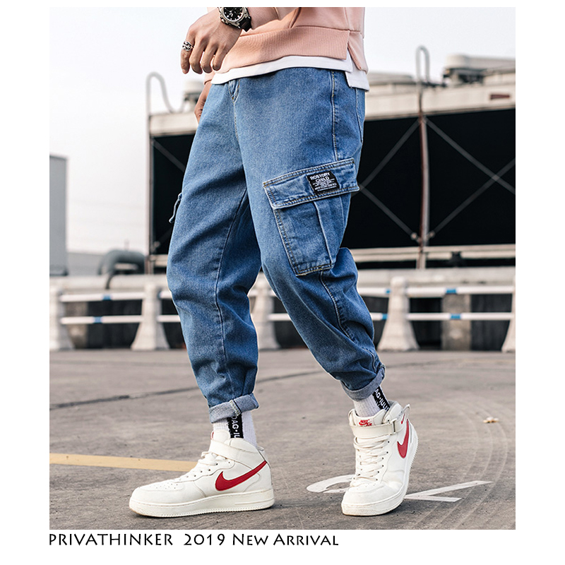 Privathinker Streetwear Blue Jeans Pants Men 2019 Mens Pockets Hip Hop Overalls Cargo Pants Male Loose Fashion Denim Harem Pants